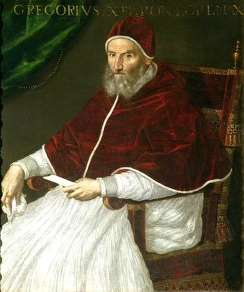 Pope Gregory XIII, c. - the Pope that the Gregorian calendar was named after