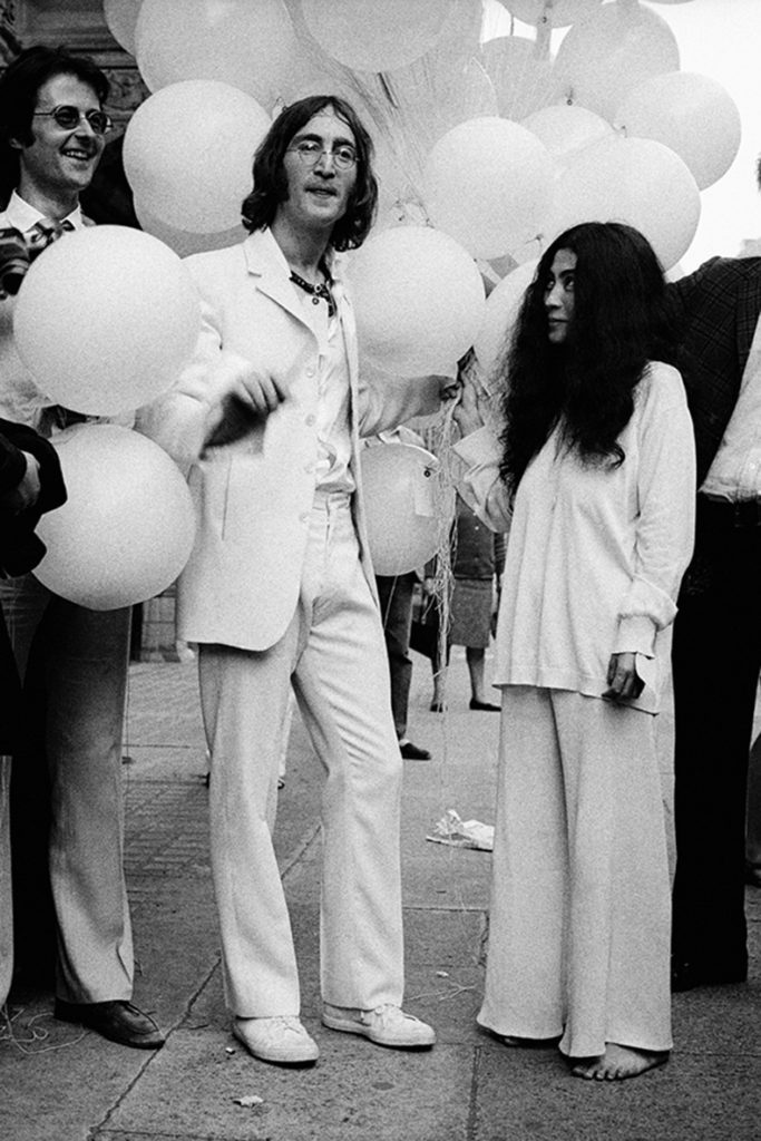 "Robert Fraser, John Lennon and Yoko Ono, at the opening of ""You Are Here,"" at the Fraser Gallery, 1968"