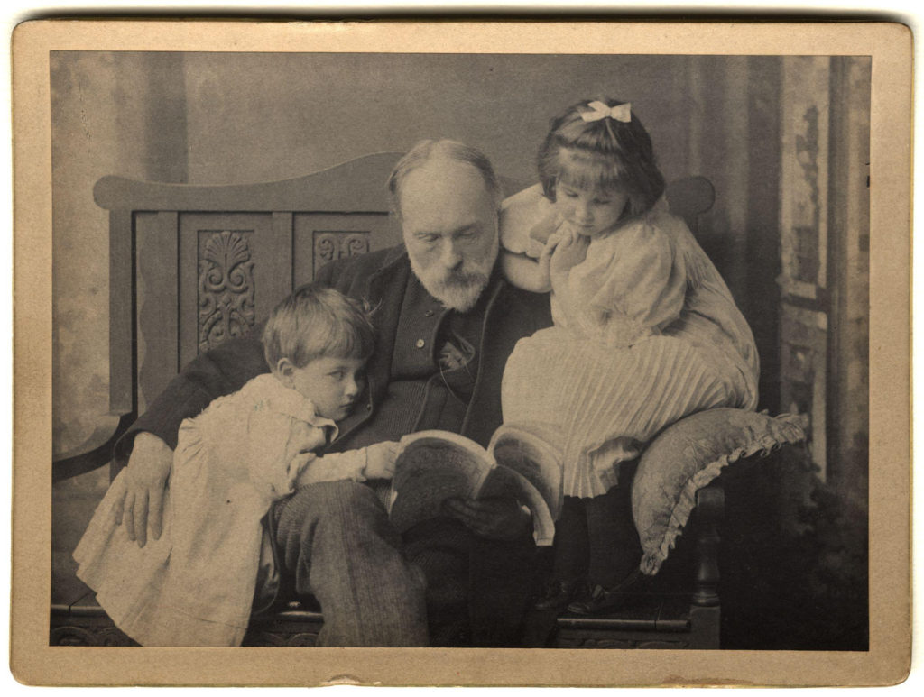 Burne-Jones with his grandchildren, Denis and