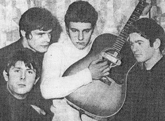 1965: Robert Plant (center, in white), with Roger Beamer, John Crutchley, and Geoff Thompson (left to right)