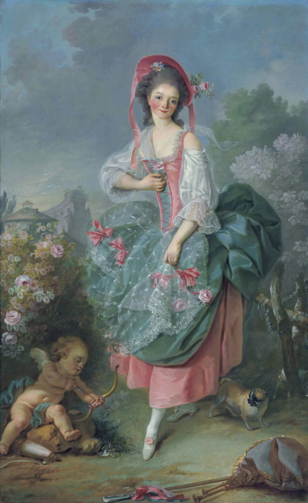 """Mademoiselle Guimard as Terpsichore,"" 1774–5 - Boucher's teaching evident in this work's pastel color and delicate execution"