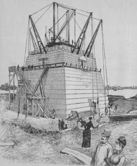 Artist's rendering of the construction of the pedestal, designed by Richard Morris Hunt