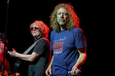 Robert Plant on right and Ian Hunter performing during the Arthur Lee benefit concert at The Beacon Theater on June 23, 2006.