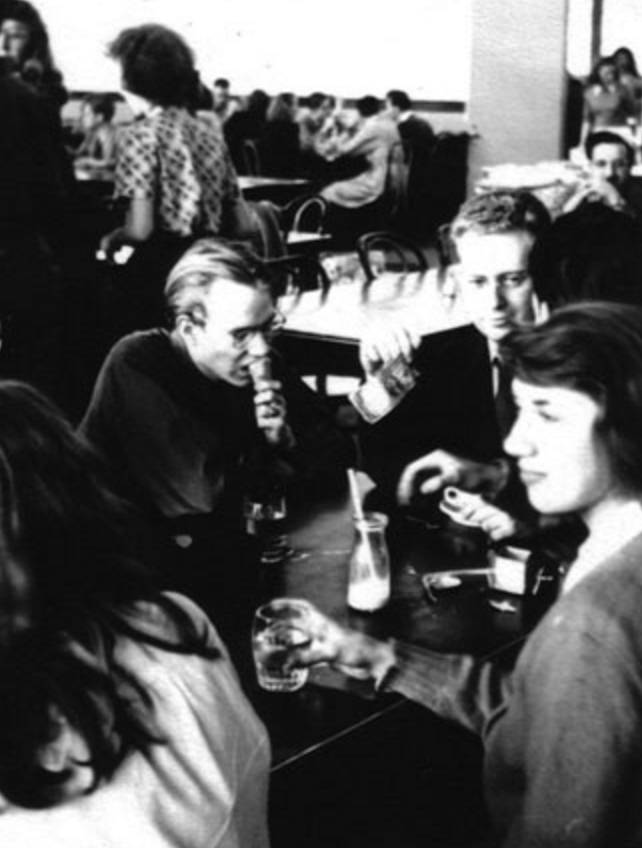 Warhol, on left eating ice cream, and classmates at the Carnegie Institute, c. 1947