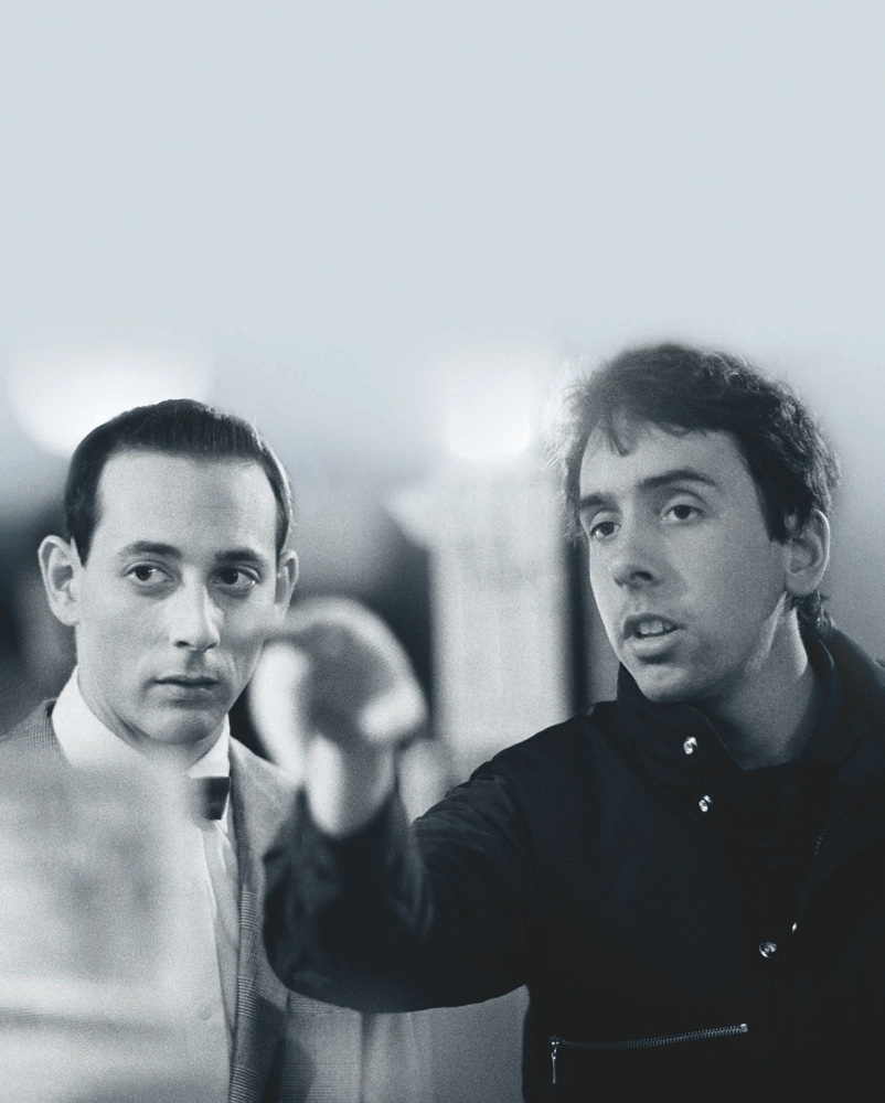 Paul Reubens and Tim Burton during the filming of Pee-wee's Big Adventure