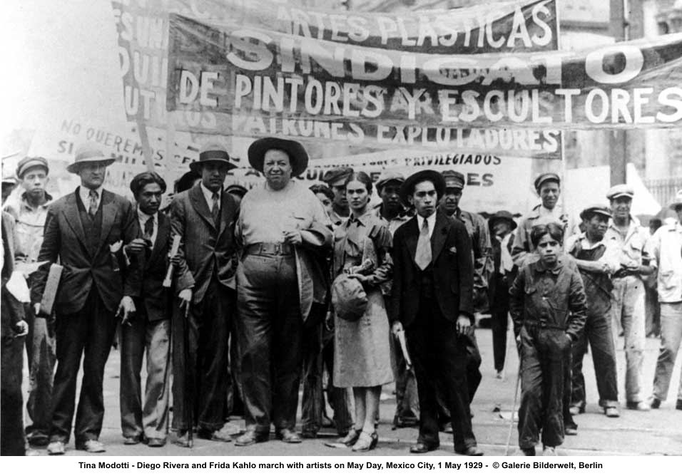 Diego Rivera and Frida Kahlo march with the artists, on May 1, 1929