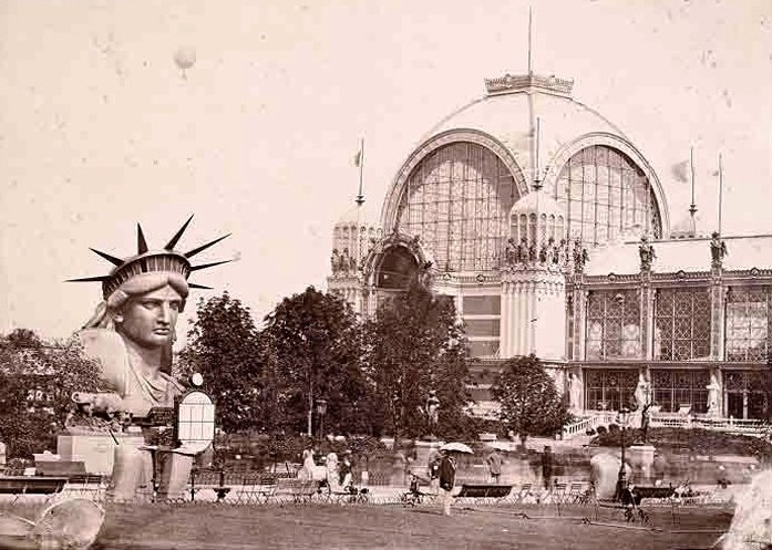 "To help with the fundraising efforts, the head of ""Liberty"" was shown at the Exposition Universelle de Paris."