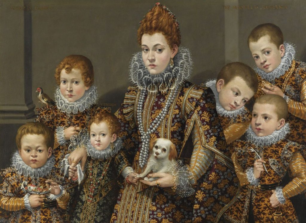 """Portrait of Bianca Degli Utili Maselli with six of her children,"" (1604-5)"
