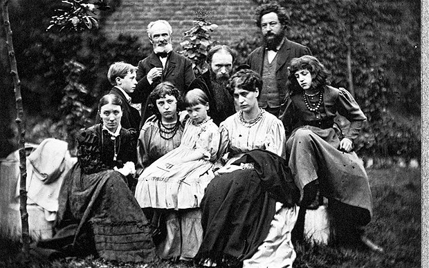 Edward Burne-Jones (back row, centre) and William Morris (back row, right) with their seemingly unhappy families