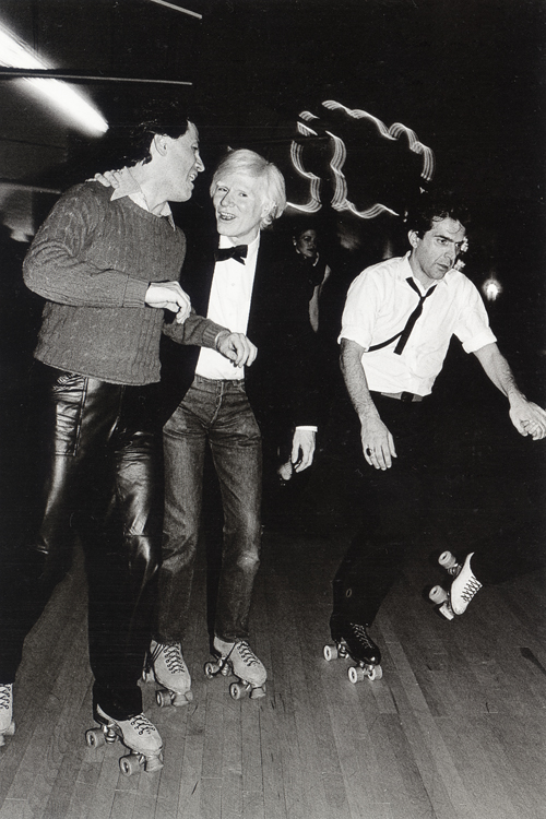 Warhol and friends, a rare outing to go rollerskating, 1980
