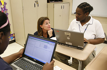Melinda Gates talks to students in a math class at John Hope College Prep High School, Chicago, Illinois, 2007 - photo by David Evans
