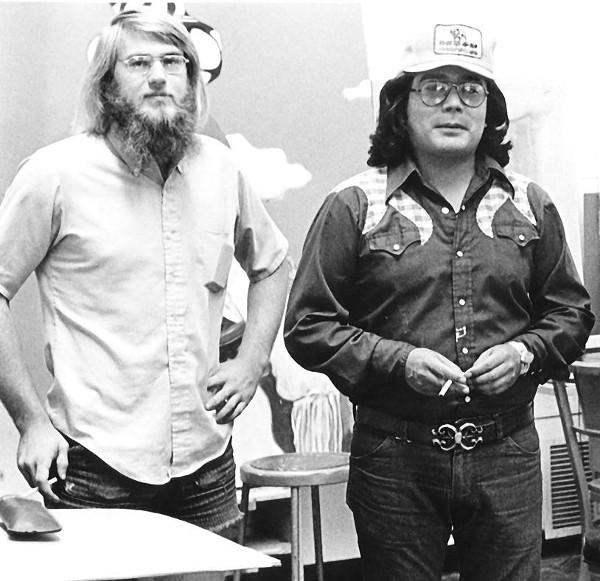 TC Cannon (right) with art curator David Rettig, 1973