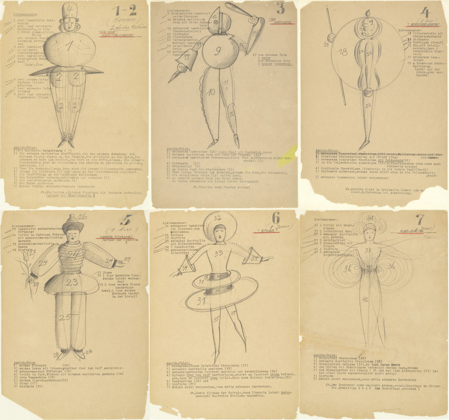 Original sketch designs of Bauhaus costumes by Schlemmer