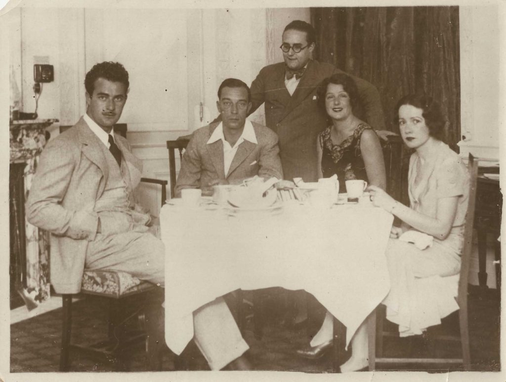 From Right: Dorothy Sebastian, Natalie Talmadge, Buster Keaton & 2 unidentified men, c. 1927