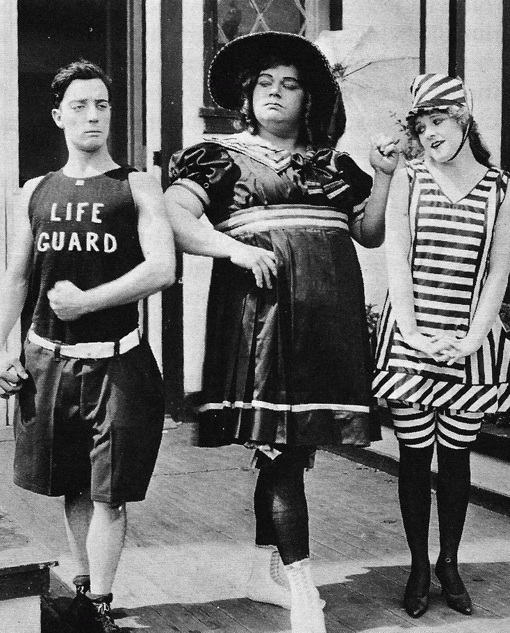 "Still from the film ""Coney Island,"" 1917 - Buster Keaton, Fatty Arbuckle, Alice Mann (left to right)"