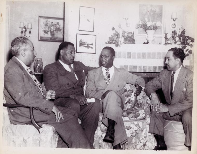 (left to right) Langston Hughes, Paul Robeson, Canada Lee, and Arna Bontemps