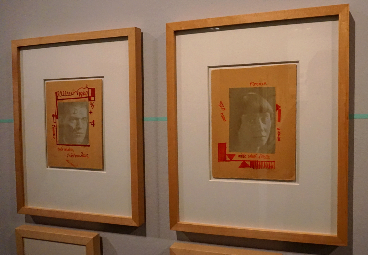 One of Hannah Höch's works in the Dadaglobe exhibition in Zurich, May 2016 - featuring a self portrait (seen on left) and portrait of Raoul Hausmann
